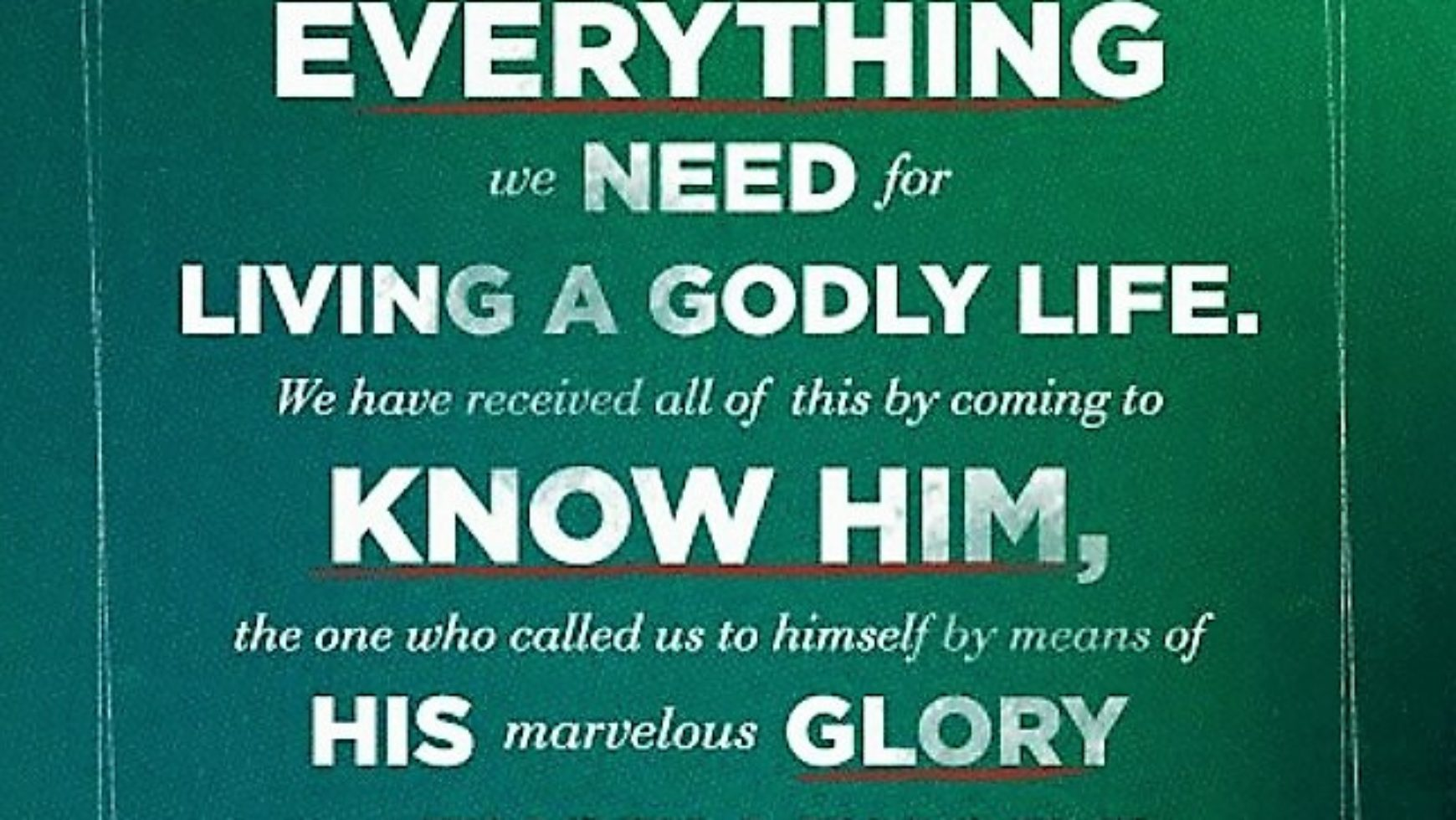 His divine power has granted to us all things